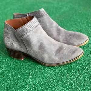 Lucky Brand Basel Ankle Booties Gray Leather Suede